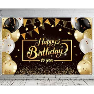 Ouddy Happy Birthday Backdrop Banner, Black Gold Theme Happy Birthday Decorations for Men Women for $6