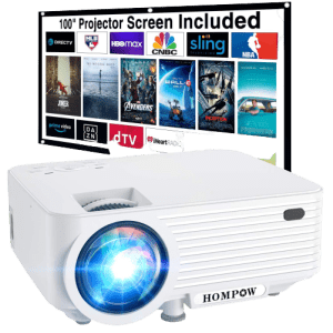 """Hompow Portable Mini Projector with 100"""" Projector Screen for $100"""