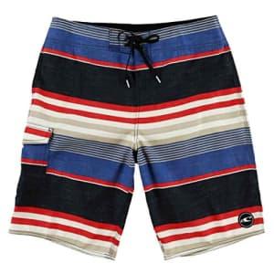 O'NEILL Men's Santa Cruz Striped Boardshorts, Size 38, Black/Charcoal Blue for $40
