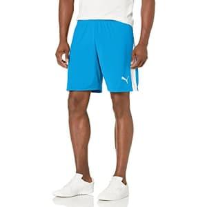 PUMA Men's Liga Shorts, Electric Blue Lemonade/White, L for $24