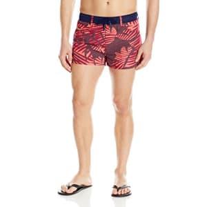 Diesel Men's Wayeeki Palm Short 12inch Swim Trunk, Chinese Red Print, X-Large for $90