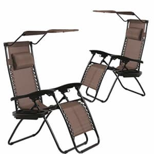 BestMassage Patio Chairs Lounge Chair Zero Gravity Chair 2 Pack Recliner W/Folding Canopy Shade and for $191