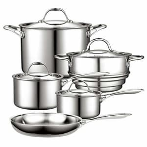Cooks Standard Multi-Ply Clad Stainless Steel Cookware Set, 9 Piece, Silver for $150