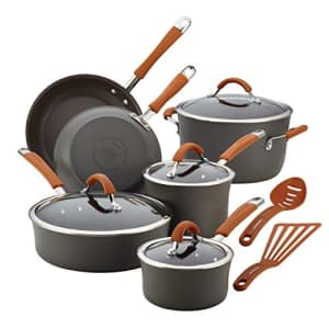 Rachael Ray Cucina Dishwasher Safe Hard Anodized Nonstick Cookware Pots and Pans Set, 12 Piece, for $161