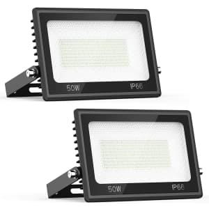 iMaihom 50W LED Outdoor Flood Light 2-Pack for $30