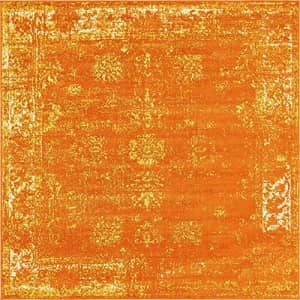 Unique Loom Sofia Collection Traditional Vintage Square Rug, 8 Feet, Orange/Yellow for $85