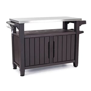 Keter Unity XL Portable Outdoor Table and Storage Cabinet with Hooks for Grill for $328