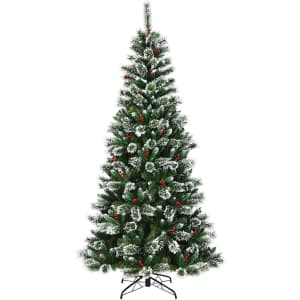 Costway 5-Ft. Snow Flocked Artificial Christmas Tree w/ Red Berries for $47