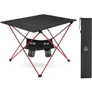 Deerfamy Foldable Camping Table w/ Cup Holders for $24
