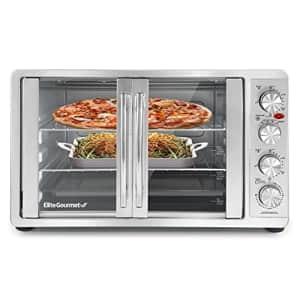 Elite Gourmet ETO-4510M Double French Door Countertop Convection Toaster Oven, Bake Broil Toast for $130