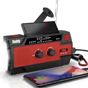 Radioddity Portable Solar Hand Crank NOAA Weather/Emergency Radio for $36