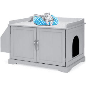 Best Choice Products Wooden Cat Litter Box Enclosure & Storage Cabinet w/ Magazine Rack for $135