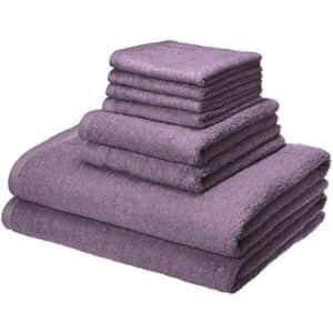 Amazon Basics Quick-Dry, Luxurious, Soft, 100% Cotton Towels, Lavender - 8-Piece Set for $28