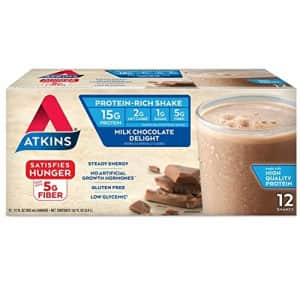 Atkins Gluten Free Protein-Rich Shake, Milk Chocolate Delight, Keto Friendly, 12 Count for $20