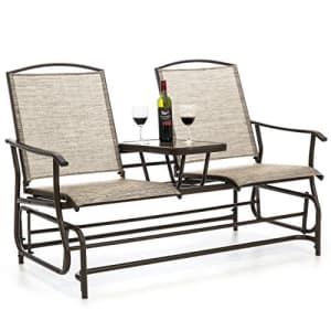 Best Choice Products 2-Person Outdoor Mesh Fabric Patio Double Glider w/Tempered Glass Attached for $359
