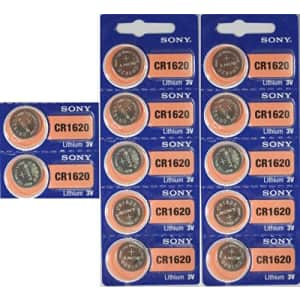 Sony Lithium 3V Batteries Size CR1620 (Pack of 12) for $19