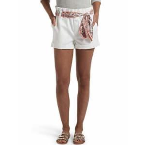 HUE Women's Paperbag Ultra Soft Denim High Waist Shorts, White, Medium for $23
