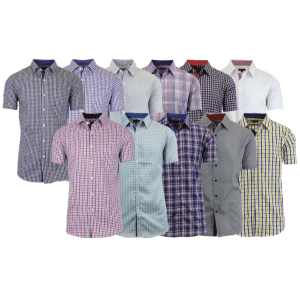 Men's Assorted Short Sleeve Patterned Dress Shirts (4-Pack) for $22