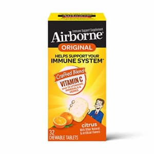 Vitamin C 1000mg (per serving) - Airborne Citrus Chewable Tablets (32 count in a box), Gluten-Free for $9