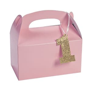 Fun Express Pink First Birthday Party Favors Boxes with Tags (set of 12) First Birthday Party for Girls Supplies for $12