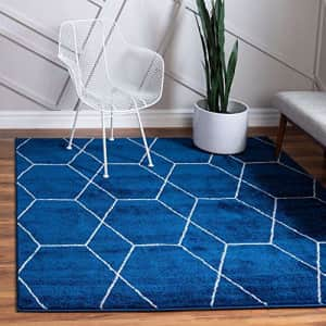 Unique Loom Trellis Frieze Collection Lattice Moroccan Geometric Modern Square Rug, 3 Feet, Navy for $31