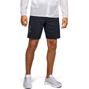 Under Armour Men's Qualifier SpeedPocket 9-Inch Linerless Shorts, Black (001)/Halo Gray, Small for $31