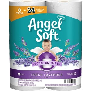 Angel Soft Toilet Paper 6 Mega Rolls for $6