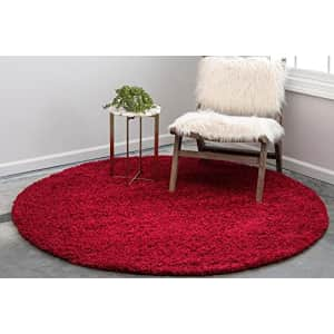 Unique Loom Solo Solid Shag Collection Area Modern Plush Rug Lush & Soft, 4' 0 x 4' 0 Round, Cherry for $42