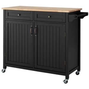 StyleWell Bainport Kitchen Cart w/ Rubberwood Butcher Block Top for $176