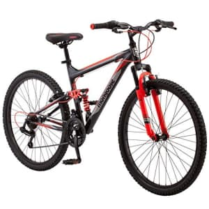 Mongoose Status 2.2 Mens and Womens Mountain Bike, 26-Inch Wheels, 21-Speed Shifters, Aluminum for $381