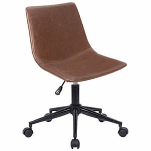 Homall Mid Back Task Chair Brown Leather Computer Office Chair Low Back Adjustable Swivel Vanity for $80