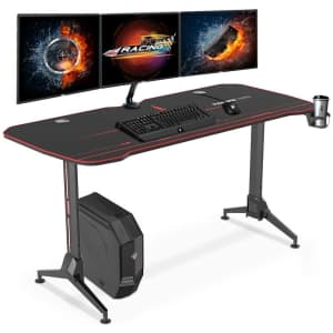 """FlexiSpot 63"""" Gaming Desk with Mouse Pad for $120"""