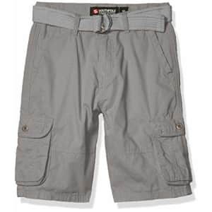 Southpole - Kids Boys' Big Belted Ripstop Basic Cargo Shorts, Light Grey As, 8 for $17