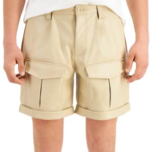 Inc Men's Faux Leather Cargo Shorts for $14