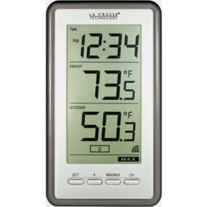 La Crosse Technology Wireless Indoor and Outdoor Temperature Digital Thermometer / Clock for $31
