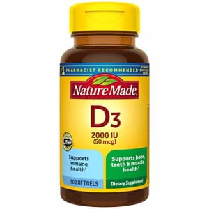 Nature Made Vitamin D3 2000 IU (50 mcg) Softgels, 90 Count for Bone Health (Packaging May Vary) for $5