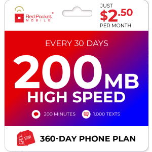 Red Pocket 1-Year + 200MB Monthly Data Prepaid Plan w/ SIM Card for $30