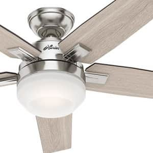 Hunter Fan 52 inch Contemporary Brushed Nickel Indoor Ceiling Fan with Light Kit and Remote Control for $119