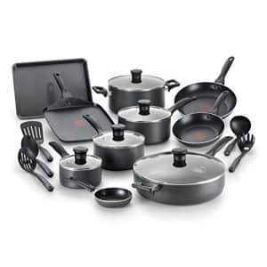 T-fal Everything in Kitchen Dishwasher Safe Cookware Set, 20-Piece, Black for $114