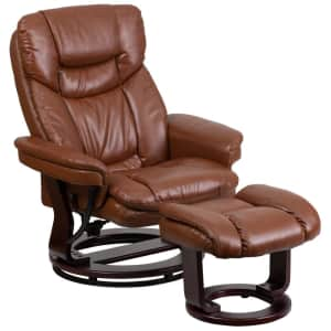 Flash Furniture Vintage LeatherSoft Swivel Recliner and Ottoman for $299