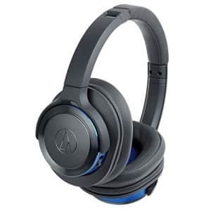 Audio-Technica ATH-WS660BTGBL Solid Bass Bluetooth Wireless Over-Ear Headphones with Built-In Mic & for $79