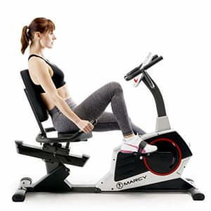 Marcy Regenerating Recumbent Exercise Bike with Adjustable Seat, Pulse Monitor and Transport Wheels for $333