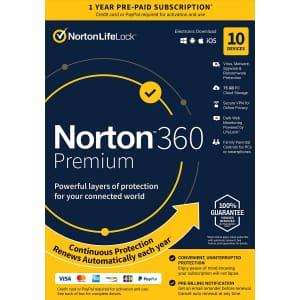 Norton 360 Premium 2021 for 10 Devices for $28