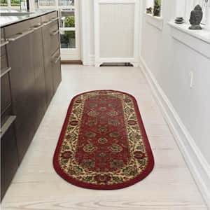 """Ottomanson Collection Traditional Oriental Design Non-Slip Area Rug, 20"""" X 59"""" Oval, Red Persian, 8 for $17"""