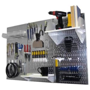 Pegboard Organizer Wall Control 4 ft. Metal Pegboard Standard Tool Storage Kit with Galvanized for $136