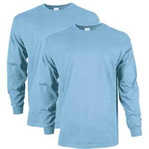 Gildan Men's Ultra Cotton Long Sleeve T-Shirt, Style G2400, 2-Pack, Light Blue, Large for $33