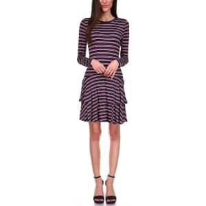 Michael Kors Women's Striped Tiered-Skirt Dress for $24
