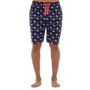 IZOD Men's Cotton Printed Poplin Drawstring Sleep Shorts, Navy/Flamingo, Medium for $11