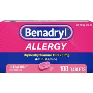 Benadryl Ultratabs Antihistamine Allergy Relief Tablets 100-Count for $11.34 via Sub & Save