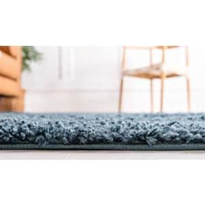 Unique Loom Davos Shag Collection Contemporary Soft Cozy Solid Shag Marine Blue Area Rug (6' 0 x 9' for $79